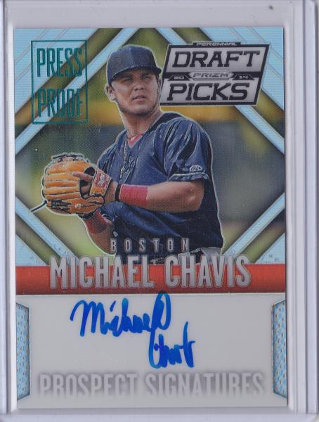 2014 Prizm Perennial Draft Picks Prospect Signatures Michael Chavis Press Proof #'d 84 of 199
