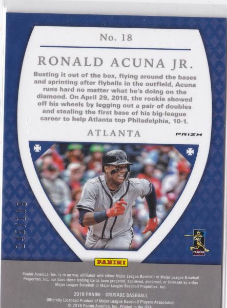 2018 Crusade Ruby Wave Ronald Acuna JR #'d 145 of 199
