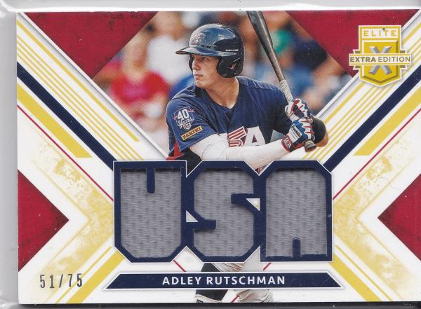 2019 Elite Extra Edition Adley Rutschman USA GU Jersey Relic #'d 51 of 75